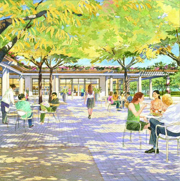 Garden court grove and seating area of the new Education and Visitor Center scheduled to open in early 2015 at The Huntington Library, Art Collections, and Botanical Gardens. Architectural Resources Group and Office of Cheryl Barton, ©Art Zendarski.