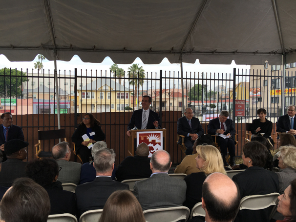 Mayor Eric Garcetti spoke to a standing room only crowd at the LAFLA Groundbreaking