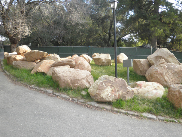 Many boulders populate the site...